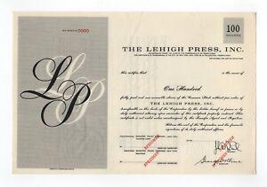 SPECIMEN - The Lehigh Press, Inc. Stock Certificate