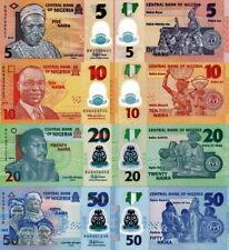 NIGERIA - Lotto 4 banconote 5/10/20/50 Naira Polymer FDS - UNC