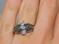 Rhodium Silver Plated Pink CZ Marcasite sz 6 Ring 12j 58