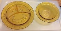 TIARA AMBER  GLASS NURSERY RHYME 2 PC SET DIVIDED PLATE, BOWL, 1970s