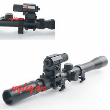 Hunting 3-7X20 Optics Cross Reticle Scope&Red Laser Sight&Mounts 4 Air Gun Rifle
