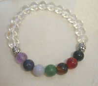 7 Stone Chakra Bracelet Clear Quartz Gemstone Crystal Healing Natural AA Quality
