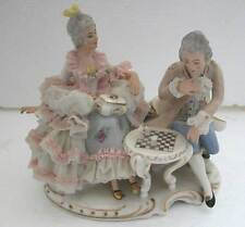 A FINE ANTIQUE  PORCELAIN GROUP OF COUPLE PLAYING CHESS - BY DRESDEN (AR 5)