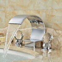 Crystal Handles Waterfall Bathroom Basin Faucet 3 Holes 2 Handle Sink Mixer Tap