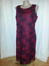 Red Floral Lace over lined desk to dinner party textured Hem DRESS 20 NEW