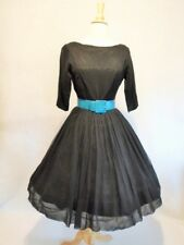 1950's Vintage Crepe Chiffon Cocktail Party Pin Up Dress Full Pleat Skirt M