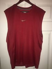 Nike Dri Fit Tank Top Embroidered Check Logo Size L Red