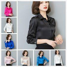 Women Silk Satin Shirt Long Sleeve Formal Work Shiny Blouse Top Elegant Pink New