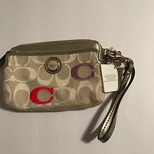 NWT Coach Wristlet Wallet Light Khaki With Mutli Colored Pastel Embroidered C's