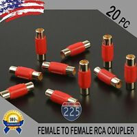 20 Pcs Bag Female To Female RCA Couplers RED w/Gold Plated Connectors PACK US