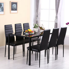 Black Glass Dinning Table and 6 Faux Leather High Back Padded Chairs Set Kitchen