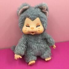 "Rare Monchhichi Nyamy Nappy Grey Kitten Cat Mini Plush Soft Toy Doll 7"" 1970s"