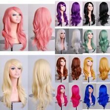 Mode Cosplay Perruque Cheveux Longue Droite Ondulé Bouclés Deguisement Wig Femme