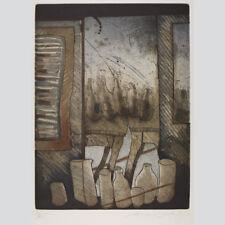 Reinhard Zado: Blick durch das Fenster. Farbradierung um 1980.