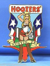 HOOTERS SEXY COWGIRL GIRL CHAPS FLAG BULL HEAD CITY AUSTIN TX TEXAS LAPEL PIN