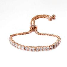 Stunning 4 Cts Natural Diamonds Tennis Bracelet In Solid Certified 18K Rose Gold