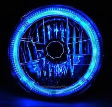 """7"""" H6024 / 6014 Halogen Blue LED Halo Ring H4 Light Bulb Angel Eye Headlight"""