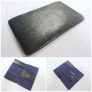 Vintage Magic Wallet Trick Note Purse 1960s Navy Blue Leather Pre Decimal 60s
