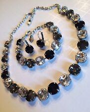 Swarovski crystal element Necklace Bracelet Earring Black Jewelry Manhattan 12mm