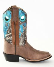 Smoky Mountain Boots Youth Boys Mesa Brown / Blue Camo Leather Square Toe