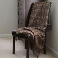 Lavish Home Jacquard Blanket Throw - Brown with Design 51 x 59 in