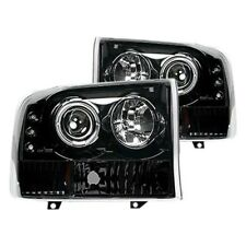 For Ford F-250 99-04 Recon Black/Smoke Halo Projector Headlights w LED DRL