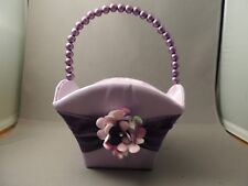 New Flower Girl Basket Purple Lavender Beaded Handle Wedding Accessory