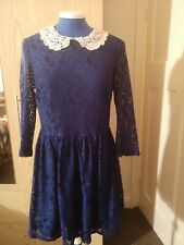Topshop Ladies Lace Navy Blue Top With Contrast White Collar Size UK 12
