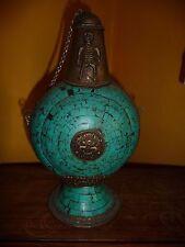 antique bouteille mosaïque sur bronze - Népal - Asie