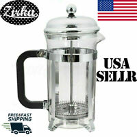 32oz Stainless Steel Glass French Filter Tea Cup Coffee Pot Plunger Press Maker