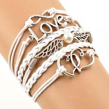 Vintage Armband Leder Wickelarmband Armkette Lederarmband Infinity Love #