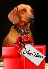 DACHSHUND CHRISTMAS or BIRTHDAY CARD  Personalised inside & out  GLOSSY A5