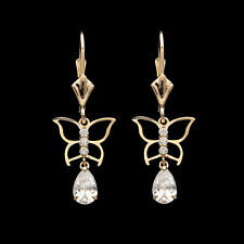 1CT Pear & Round Created Diamond Butterfly Drop Dangle Earrings 14k Yellow Gold