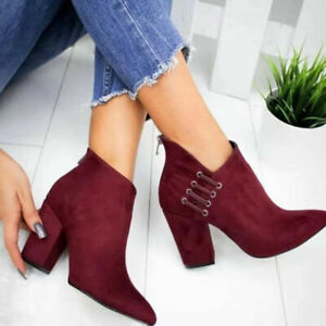 Womens Ankle Boots Faux Suede Casual High Heels Zip Up Booties Pointed Toe Shoes