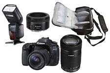 Canon 80D + 18-55 + 55-250 + 50 STM + KamKorda Bag + Flash - UK NEXT DAY DEL