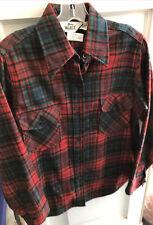 Vintage Woolrich Red Green Plaid Wool Flannel Shirt Lumberjack Size 16 Men's