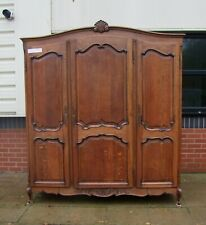Quality Vintage Louis XV Style French Carved Oak 3 Door Wardrobe  -  (SVWR3)