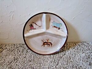 """Vintage Western Theme Divided  Plate or Tray 10.5 """""""