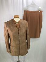 Joan & David Women's Silk 3 Piece Brown Skirt Suit Italy size 42 / 44 US 6 / 8