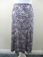 Julipa size 20 skirt purple & black animal print sheen elastic waist stretch
