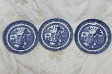 3 Vintage Johnson Brothers Willow Blue White Saucers