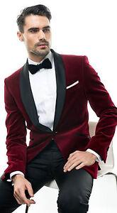 Men Maroon Smoking Jackets Luxury Tuxedo Designer Velvet Party Wear Blazer Coat
