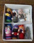 Serrv Hand Crafted Knitted Crochet Nativity Set christmas putz village vtg mini