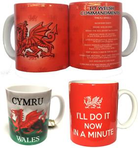 New Wales Cymru Am Byth Welsh Dragon Flag 10 Commandments, Slogan Gift-ware Mugs