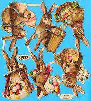 uralter, seltener Oblaten Bogen Osterhasen 31932 L&B - DIE CUT SCRAPS