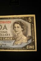 1954 Devil's Face $5 Dollar Bank of Canada Banknote GC2760320