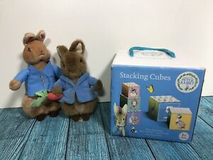M&S Baby Peter Rabbit Stacking Cubes And Plush Soft Toy Bundle