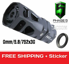 Phase 5 Tactical FAT Man Hex Muzzle Brake 9mm 6.8mm Larger 76239 1/2x36 TPI Comp