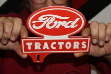 Ford Tractors Farm Feed & Seed License Plate Topper Gas Oil Porcelain Metal Sign