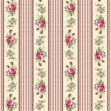 Dollhouse Miniature Shabby Chic Wallpaper Wine Roses Burgundy Stripe Floral 1:12